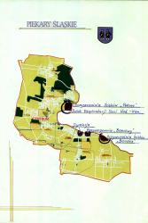 Mapa Piekar Śląskich z zaznaczonymi obiektami wchodzącymi w skład MPWiK w Piekarach Śląskich Sp. z o.o. na dzień 01.09.1995r.